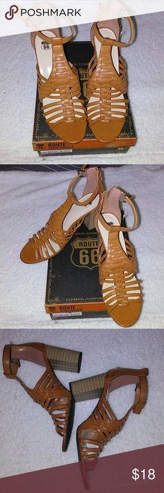 ROUTE 66 WOMEN SHOES 👠 Cognac color, man-made material, comfy shoes, ankle straps!!! Route 66 Shoes Sandals