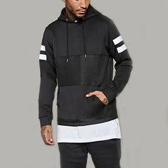 With hood design and autumn season men fashion hoody black clothing high quality man pullover hoodies drawstring