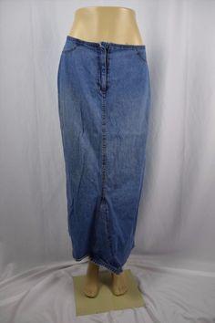 16.93$  Buy now - http://vilrz.justgood.pw/vig/item.php?t=e1z2jqj49319 - Vintage Studio VS Womens 10 Blue Jean Denim Skirt Modest Long Medium Wash 16.93$