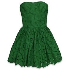 Abercrombie & Fitch Leanne Dress ($35) ❤ liked on Polyvore featuring dresses, vestidos, green, short dresses, green dress, short green dress, mini dress and green eyelet dress
