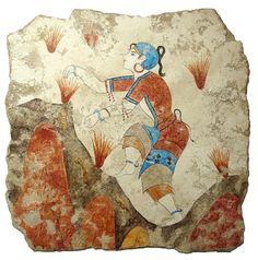 The Saffron Gatherer:   From our Akrotiri Collection which features frescos from the ancient Minoan City of Akrotiri on the island Santorini.  The woman with a shaved blue head is depicted in a field of crocuses. She is gathering the stamens with both hands. The Crocus grows even today on the Aegean islands and mainland Greece. Saffron, which is derived from the stamen of the crocus, has been used as a dye, a medicine, a spice and a perfume for centuries.