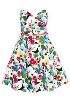 White Poppy Print Bandeau Dress