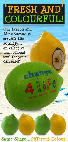Fresh and Colourful! Our lemon and lime stressballs...