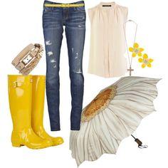 Yellow Rain Boots, Flower Umbrella