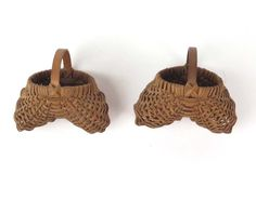 Miniature buttocks baskets pair vtg small lot 2 woven splint country rustic mini #primitives #vintage #rustic #country