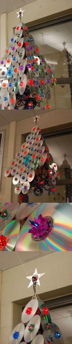 Artesanatos Reciclagem: Árvore de natal com reciclagem de CDs