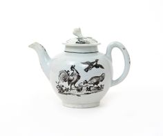 1758-60 A Worcester teapot and cover c.1758-60, printed in black with a cockerel, hen and chicks to one side, the reverse with a duck and other birds in flight above fancy birds perched on the ground, the cover with three landscape vignettes around the floral finial, 16cm. (2) Woolley and Wallis - Salisbury Salerooms lot441