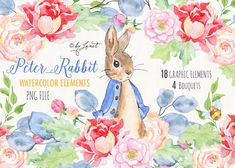 Peter Rabbit - art clipart - Beatrix Potter - Illustration - Watercolor Elements - PNG file