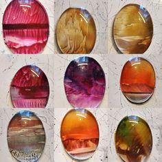 Miniature encaustic paintings under glass cabouchon as a pendant Encaustic Painting, Original Art, Miniatures, Paintings, Pendant, Glass, Handmade, Hand Made, Paint