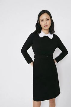 Collared Ponte Dress | Warehouse Dress Collection, Fashion Face Mask, Fit Flare Dress, Cool Girl, Collars, High Neck Dress, Lingerie, Warehouse