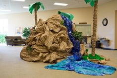 Cool DIY waterfall idea for Shipwrecked VBS! Explore more decoration ideas at Concordia Supply!