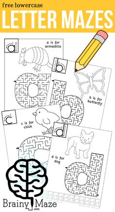 Lowercase Letter Mazes!  These Alphabet Mazes are perfect for building small motor control with opportunities to read, trace, write and maze!   Free From BrainyMaze.com
