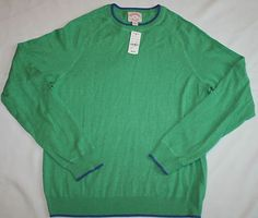 Mens Brooks Brothers Large Sweater Green Navy Cotton Long Sleeve Crew Neck NWT $24.99