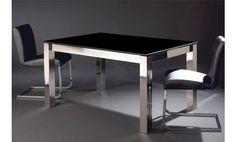 Mesa de cristal negro y acero inox extensible 160x90x76
