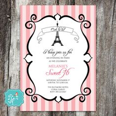 Parisian Party Invitation Eiffel Tower French Oh by AFlairForPaper