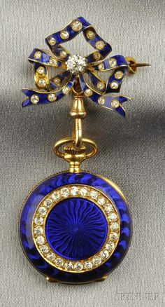 lapel pocket watch with hunter case with diamonds and blue enamelling