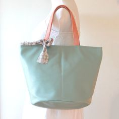Buy Bucket Tote Bag, vegan, vinyl leather in mint, back to school by bennaandhanna. Explore more products on http://bennaandhanna.etsy.com only $54. enter coupon code FREESHIP50 for free shippping
