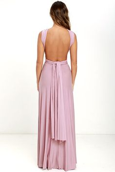 """Lulus Exclusive! Versatility at its finest, the Tricks of the Trade Mauve Maxi Dress knows a trick or two... or four! Two, 76"""" long lengths of fabric sprout from an elastic waistband and wrap into a multitude of bodice styles including halter, one-shoulder, cross-front, strapless, and more. Stretchy, jersey knit hugs your curves as you discover new ways to play with this fascinating frock. Full, maxi-length skirt has a raw hemline. Want Styling Tips? <a href='http:/&#x2..."""