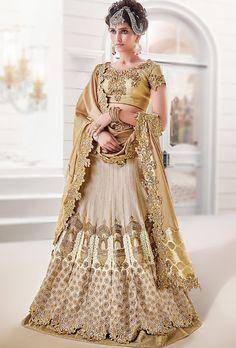Beige Designer Bridal Lehenga - Desi Royale