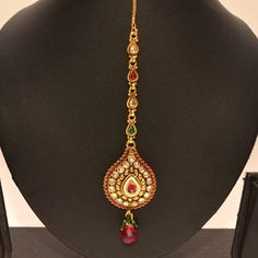 Anvi's droplet shaped maang tikka with white stones and rubies - Online Shopping for Maang Tikkas by Avni Collections