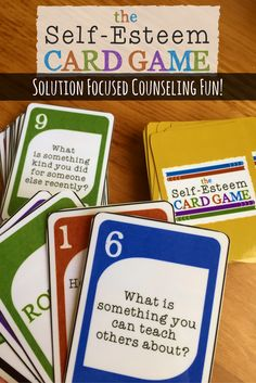 Self-Esteem Card Game. A fun Solution Focused Counseling Intervention. Elementary School Counseling, School Social Work, School Counselor, Self Esteem Activities, Counseling Activities, Self Esteem Crafts, Confidence Building Activities, Career Counseling, Social Activities
