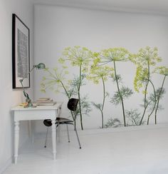 Effective wall and room design with photo wallpaper-Effektvolle Wand- und Raumgestaltung mit Fototapete modern-and-fresh-wall-design-with-photo-wallpaper-plants-for-white-interior-work-room - Photo Wallpaper, Wall Wallpaper, Interior Walls, Interior Design Living Room, Mural Art, Wall Murals, Wall Drawing, Wall Treatments, Home Deco