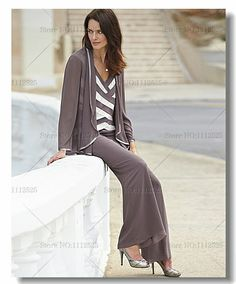 2014 New Style Criss-Cross Chiffon Three Piece mother of the bride pants suits plus size US $169.00