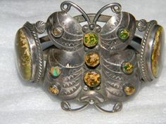 Zuni Sterling Silver Royston Turquoise Butterfly Bracelet