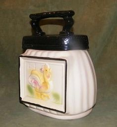 AMERICAN BISQUE 1940s ROOSTER & IRON COOKIE JAR