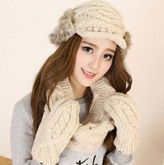 Cable knit womens hat scarf and glove set winter wear Rabbit fur decoration