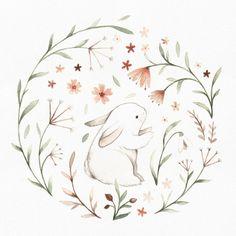 Watercolor Bunny Art Print by Nina Stajner - X-Small Art And Illustration, Watercolor Illustration, Illustrations, Watercolor Art, Bunny Drawing, Bunny Art, Watercolor Animals, Vintage Easter, Easy Drawings