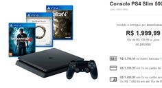 Console PS4 Slim 500G  3 Jogos  Controle - Sony << R$ 149999 >>