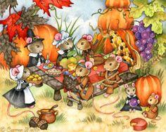 "A Thankful Feast by Carmen Medlin. Cute Thanksgiving mouse art. 8x10"" print, $15.95"