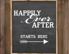 Rustic wedding sign chalkboard art Happily Ever After Starts Here Instant download 8x10