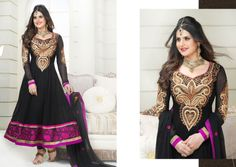 Hey Gorgeous! This fabulous Black colored Designer Suit is here to make you look like a real Black Beauty.  Price: INR 1720  Product Page: http://www.unnatiexports.com/design/closeup/women-party-wear-suits-a-505-b-7.html