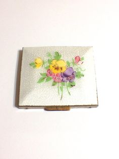 Vintage White Guilloche Enamel Compact with Pansies, Goldtone, 1930s