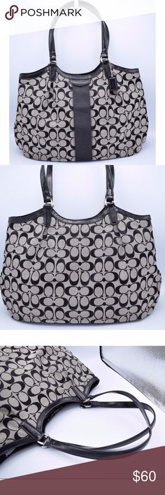 Coach Signature Stripe Devin Tote F28503 EUC Condition: Very good.  The only defect is on the strap you can see a small piece of leather is missing check pic #3.   Black & White Signature C print with black trim and silver tone hardware. This handbag features all over Coach signature print, PVC straps  two inner zip pockets, two inner slide pockets, and single stripe in contrasting color. Very clean with Coach C monogram print.  Measurements: Height: 10'' Length: 16'' Depth: 6'' Drop: 10''…