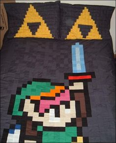 Home made zelda pixel quilt and pillow cases. need to learn how to sew!!