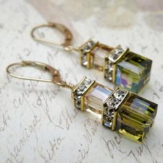 Autumn Earrings Olive Green Champagne Yellow Gold by fineheart