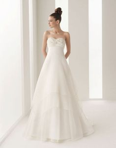 A-line tulle sleeveless bridal gown