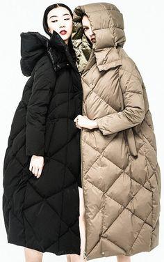 Reversible Down Coat in Black or Khaki