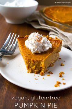 Vegan gluten-free pumpkin pie -- @TheFoodieDietitian