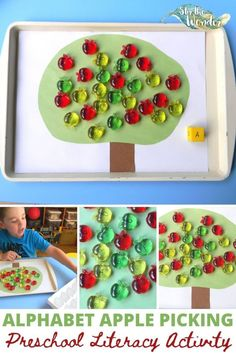 Preschoolers will have fun learning the alphabet with this ABC Apple Picking literacy activity! Kids Learning Activities, Preschool Kindergarten, Kindergarten Activities, Infant Activities, Toddler Preschool, Fun Learning, Cooperative Education, Learning The Alphabet, Early Learning