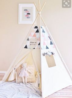Teepee inspiration. Ikat pattern fabric for top panels