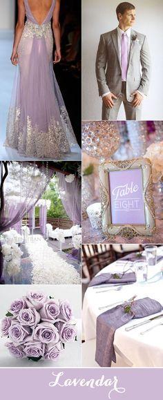 Decoración lila y plateado para bodas