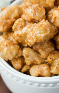 Crispy Honey Chicken. I want to try this one. I would have to substitute beef broth for the soy or some other alternative