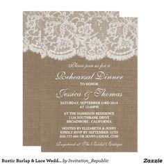 Rustic Burlap & Lace Wedding Rehearsal Dinner