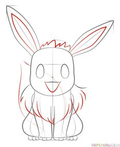 How to draw Eevee the Pokemon step by step. Drawing tutorials for kids and beginners.