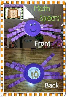 The Primary Techie: Spider Math Craftivity FREEBIE! Friends of 10 math facts Math Crafts, Classroom Crafts, Math Projects, Math Classroom, Classroom Ideas, Preschool Math, Kindergarten Math, Fun Math, Teaching Math
