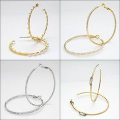 Large thin hoop earrings. Wedding earring trend. Chic earrings for the modern bride.